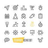 Start Up Motivation Brainstorming Icon Set. Vector