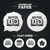Cookbook icons. Twenty five recipes book sign.