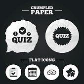 Quiz icons. Checklist and human brain symbols.