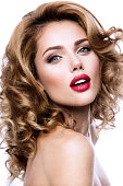 Make up. Glamour portrait of beautiful woman model with fresh