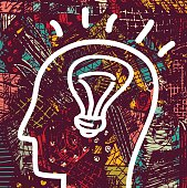 Brain creative head business idea art icon and background.