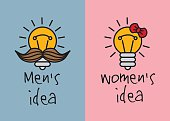 Man and woman ideas creative fun color icons.