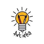 Art idea creative bulb object line logo symbol and sign.