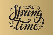 Spring time lettering.Bblack,gold background
