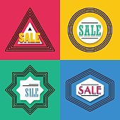 Geometrical colorful line shapes SALE emblem and icons set