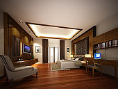 design of interior bedroom ,3d rendering