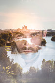 Double exposure portrait of man with city