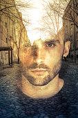 Double exposure image of man, imagination concept