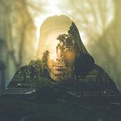 Double exposure portrait of man, imagination concept