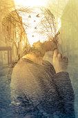Double exposure image of woman, imagination concept