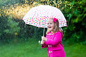 Cute little girl with colorful rainbow umbrella in the rain