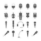 illustration of flat grey microphone icon set