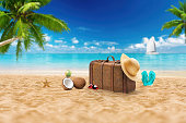 Travel holiday vacation suitcase with sunglasses.  Advertisement on travel suitcase