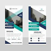 Purple Green triangle Abstract Business Roll Up Banner flat design