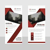 Red abstract triangle Abstract Business Roll Up Banner flat design