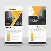 Yellow black Business Roll Up Banner flat design template Abstract