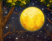 Illustration of trees and full moon with     at night sky