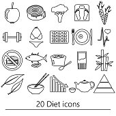 set of diet and healthy life style theme black icons