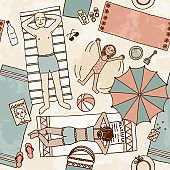 Seamless pattern of a family lying at the beach