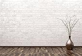 Empty interior with vase 3d rendering