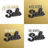 Big winter sale. Set the 3D text on gold background.