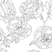 Vector floral seamless pattern. Monochrome background with rose flowers.