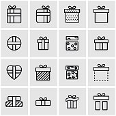 Vector line gift icon set