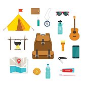 Backpacking hiking things collection, traveler backpack equipment for camping