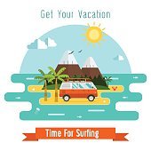Surfing Time Vector Postcard Background