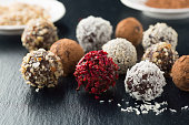 Homemade chocolate candy balls