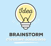 Vector illustration of creative light bulb with text