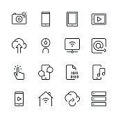 Digital Communications Icons set 1 | Black Line series