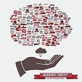 Online Insurance Concept With Hands and Icons