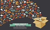 Travel Planning Icons Shapes Concept