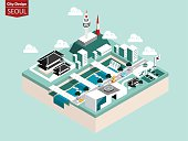 beautiful isometric style design concept of seoul city