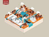beautiful isometric style design concept of venice city