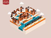 beautiful isometric style design concept of Amsterdam city