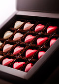 Pralines heart shaped in luxury box