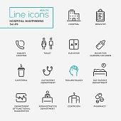Hospital wayfindings - line design pictograms set