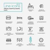 Hospital special rooms - line design pictograms set