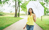beautiful brunette with white umbrella in the park