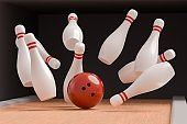 Bowling ball is knocking down pins (Strike). 3D rendered illustration.