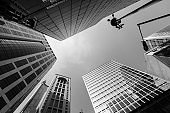 Modern skyscrapers shot with perspective (Black and white)