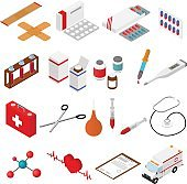 Medical Color Icons Isometric View. Vector