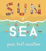 Summer Beach Vacation Flat Poster