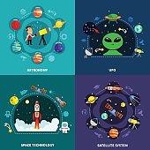 Space Exploration Concept Icons Set