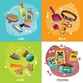 Pet Care Concept 4 Icons Square Design