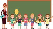 Happy teacher with kids in school. Teaching children vector background