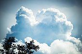 Clouds Typologies: Cumulus Clouds in moody Sky during Summer Monsoon Thunder Storm.