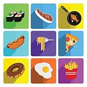 Colorful Fast Food Icon Set on Bright Background
